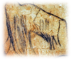 A Cave drawing or etching of a Mammoth.