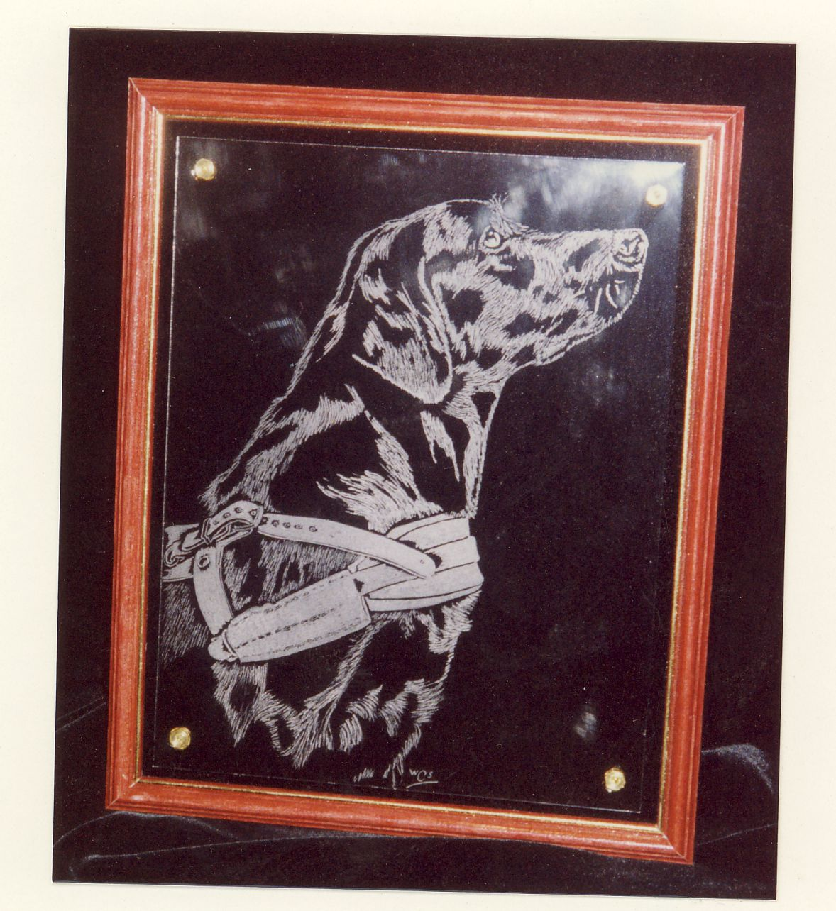 An engraving completed by me for a friend who was active in the training of Guide dogs. This is again engraved by hand on a flat glass and mounted on brass pillars above a black velvet background. This gives the engraving depth of field.