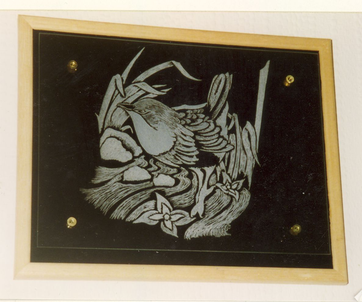 This engraving is on flat glass and is of a Wren wading in a river with the reeds blowing in the wind.