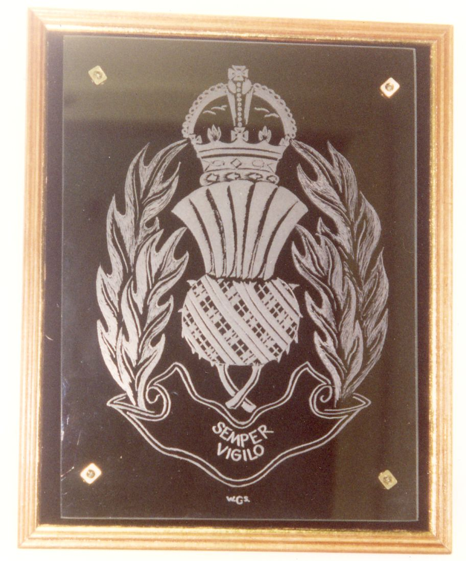 Strathclyde Police. An engraving completed as a practice piece engraved on flat glass by hand.