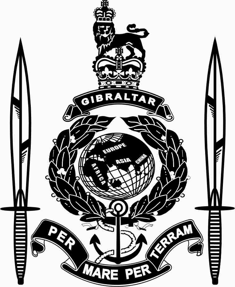 A globe with laurel leaves at both sides. Below is an ancor with a rope and below this is a ribbon with the Royal Marines moto Per Mare Per Terram. Above the globe is another ribbon with Gibraltar on it and above this is a crown with a lion on top. At each side there are two commando daggers. This completed artwork of the Badge of The Royal Marines plus commando daggers.