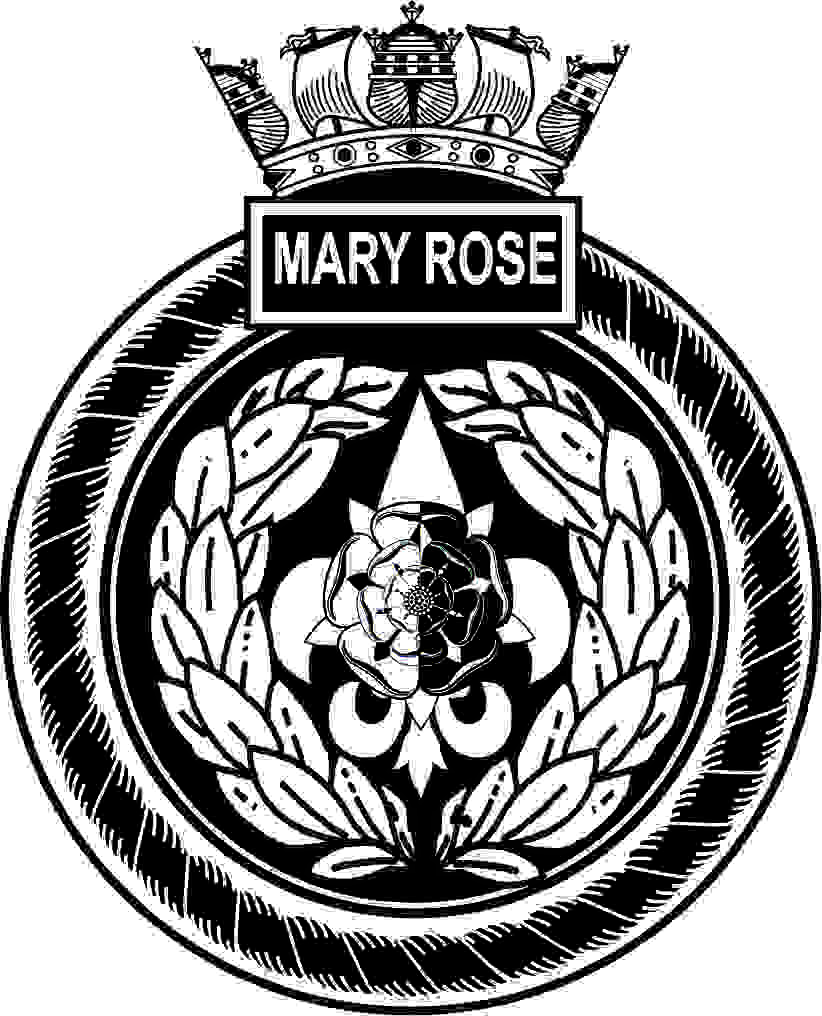 Artists impression of the crest of The Mary Rose. A round ships crest with a naval crown on top. the crest comprises of a rope border with a box on top with the words Mary Rose inside. Inside of the rope is a laurel leaf wreath inside of which is a flour de leaf with a Tudor rose on top half black and half white.