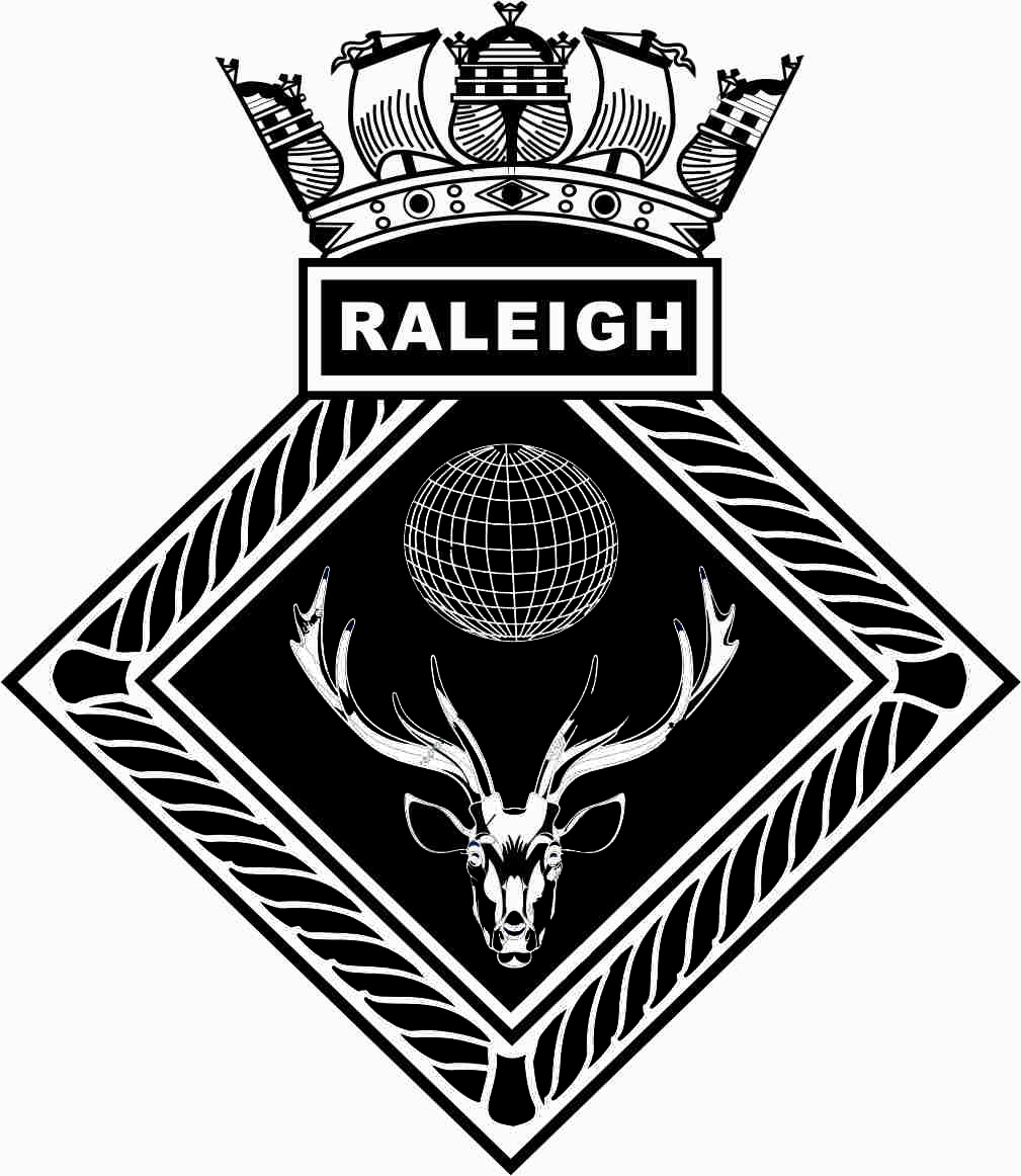 Artwork impression of the ships crest for HMS Raleigh is made up of a diamond shaped rope outer with a box above containing the word Raleigh. Above this is a navy crown. Inside the rope outer is a black background and a white lined globe above a stag head.