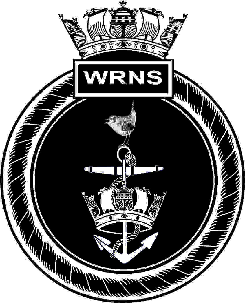 Artwork image of WRNS crest. This is made up of a round ships crest. The outer ring is a rope with a box on the top and the letters WRNS inside. On top of this is a navy crown. Inside the rope outer is a black background with ships anchor hanging through a naval crown and a bird of the wren species standing proud atop of the anchor ring