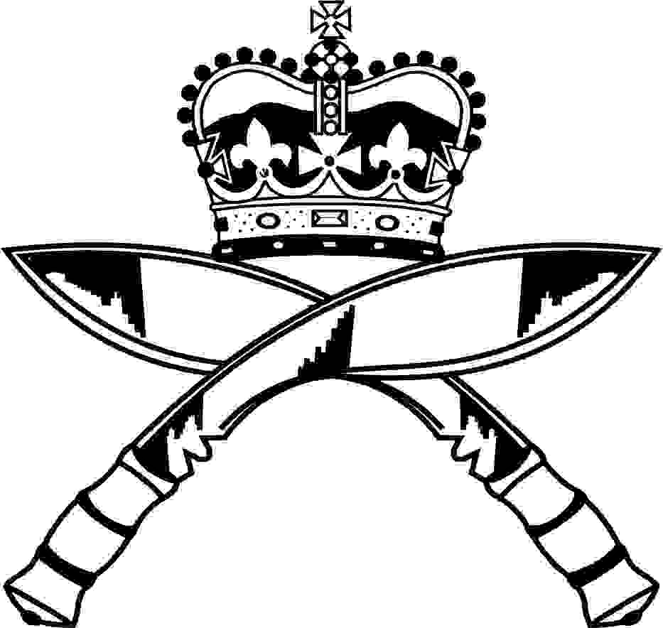 An artist's impression of the Gurkha Regiment. This is two crossed kukri knives with a royal crown above.