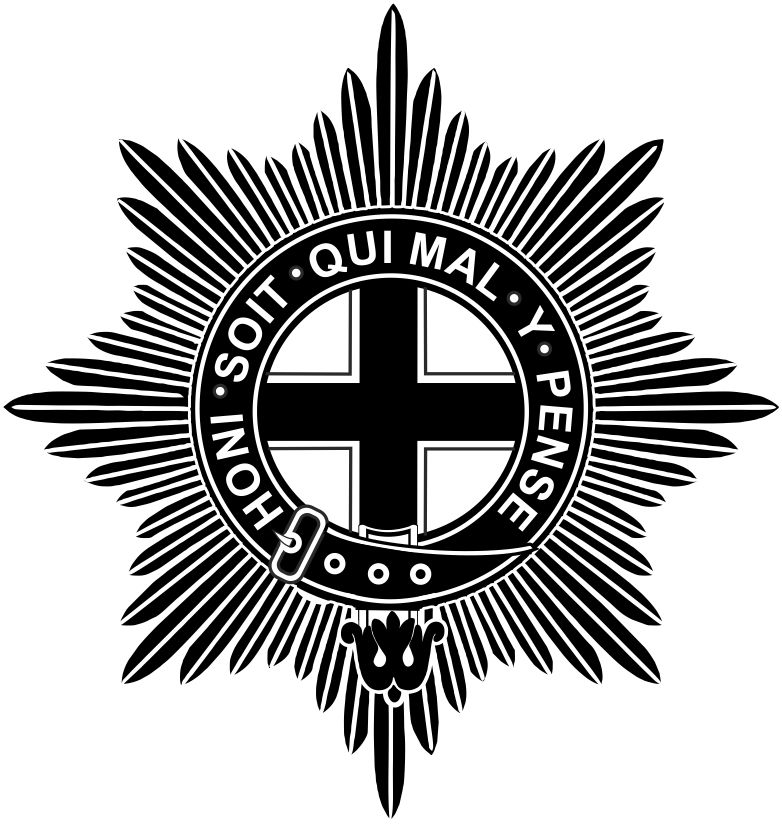 The Coldstream Guards badge is made up with sunburst behind a round belt with the words Honi Soit Qui Mal Y Pense inscribed. Inside this is a white background and a cross on top.