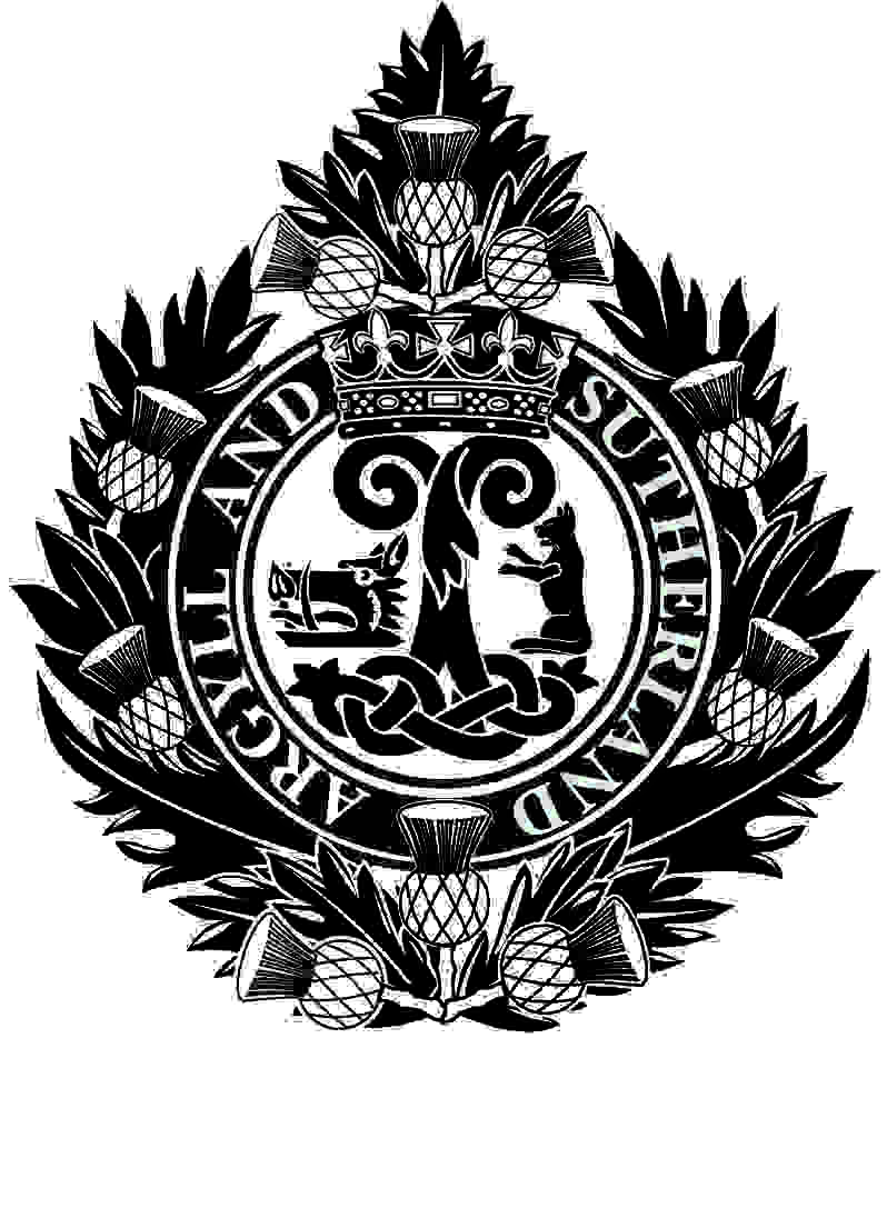 The badge of the Argyll and Sutherland Highlanders made up with a surrounding of thistle leaves and flowers. On top of these is a circle of black withe the words Argyll and Sutherland written. Inside is a intertwined emblem with a boars head on the left and a big cat on the right. Above this is a crown.