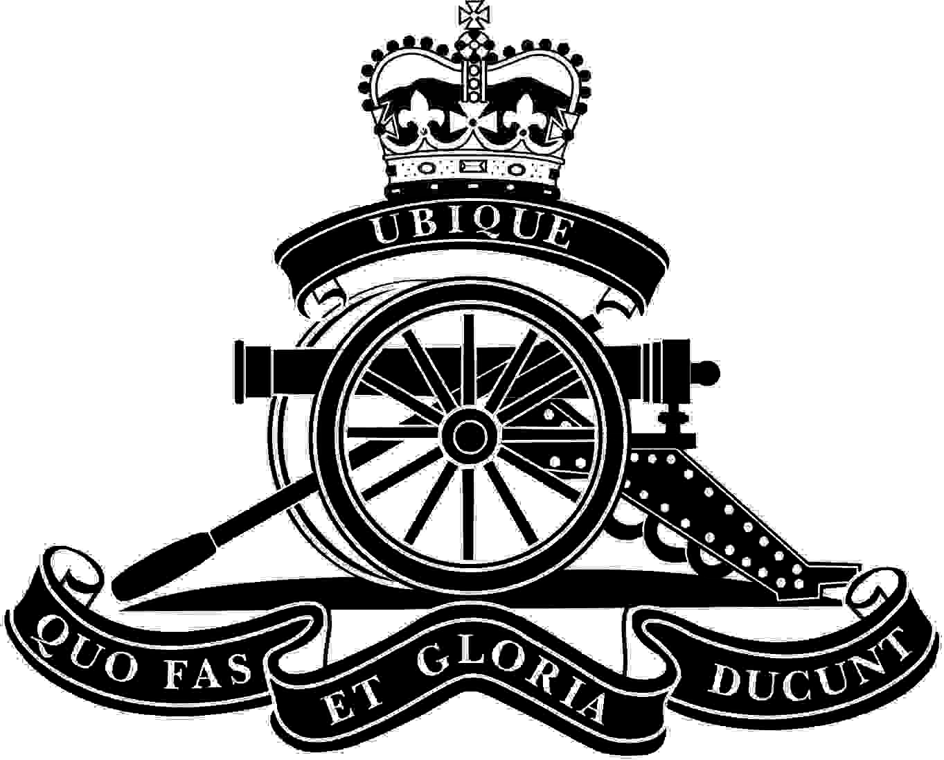 The badge of the Royal Artillery is a cannon with a ribbon above and below with the words Ubique above and Quo Fas Et Gloria Ducunt Below all topped by a crown. My impression of the badge of the badge of the Royal Artillery. Please note that all that is black is engraved onto the glass.