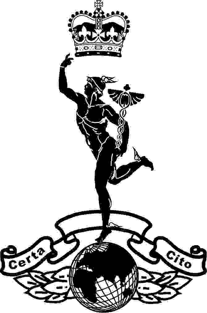 Royal Corps of Signals is an effigy of the God Mercury on top of a globe and a crown above. The globe has laurel leaves behind and to each side and a ribbon above with the words Certa Cito. This badge of the Royal corps of signals is engraved by etching all of the black areas.