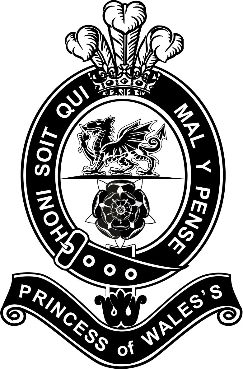 "Prince of Wale's Royal Regiment badge. A detailed badge with the prince of wales feathers above the Welsh Dragon and the Tuder Rose encircled by a black belt and the words ""Honi Soit Qui Mal Y Pense."