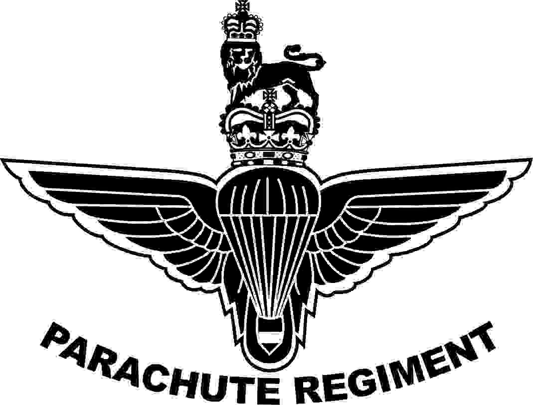 The Parachute Regiment badge. A pair of wings with a parachute on top with a crown and lion above. My impression please note that all that is black is engraved onto the glass.