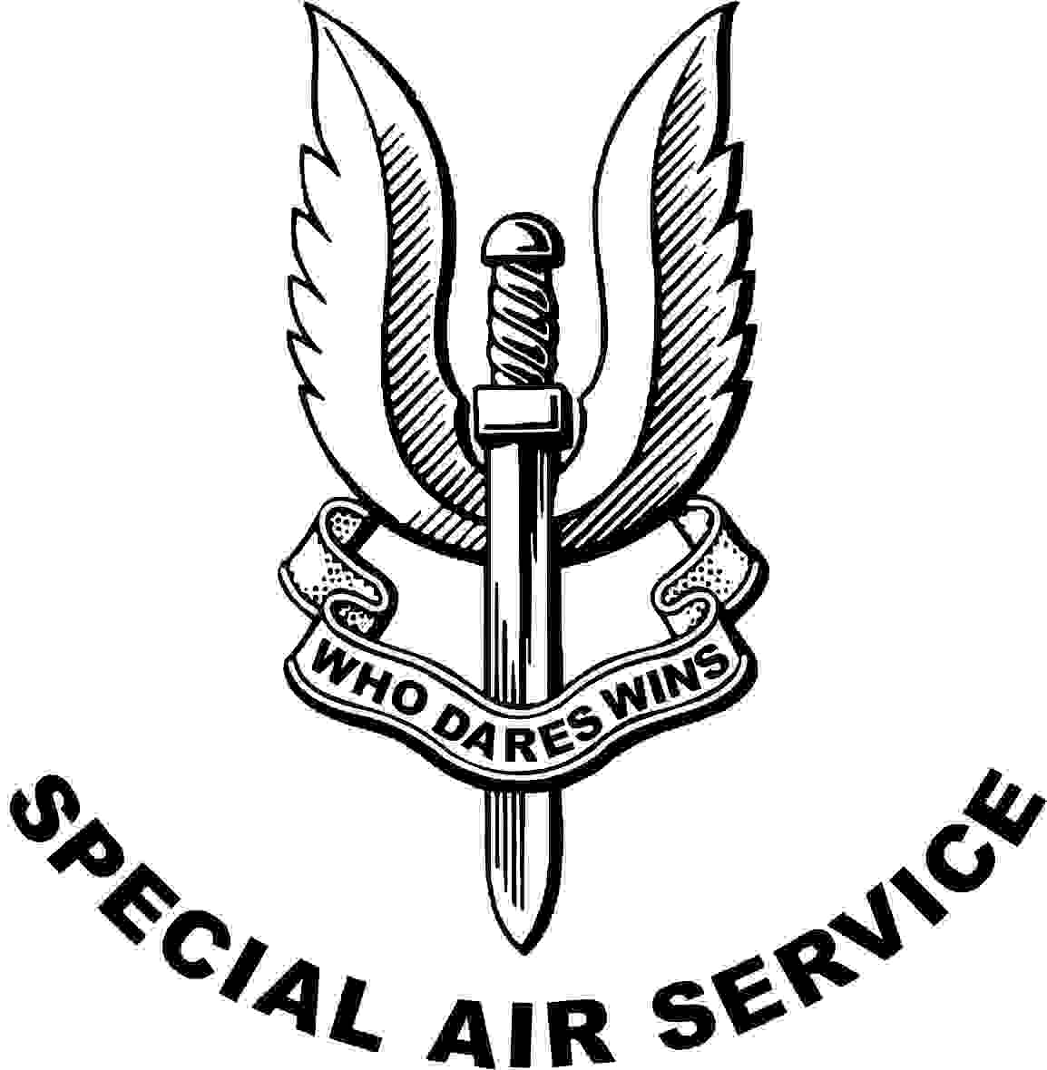 My impression of that famous badge, a winged dagger of the Special Air Service with a ribbon below and the words Who Dares Wins. Please note that all that is black is engraved onto the glass.
