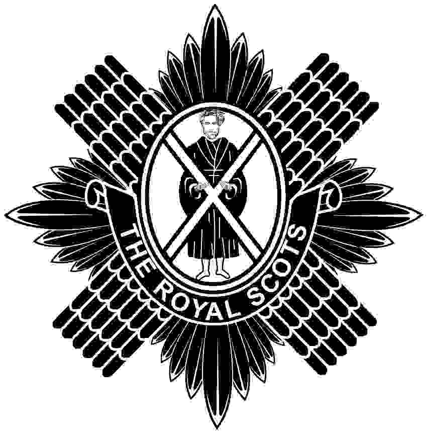 With the cross and St. Andrew in the middle of a sun burst and scales of a diagonal cross in the background the Royal Scots badge is another of the detailed Scottish regimental badges but with all of the black engraved it does look good.