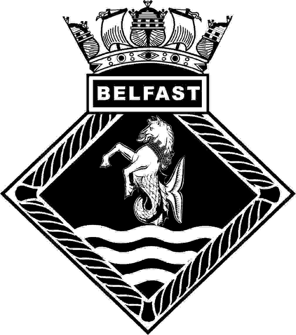 The crest of HMS Belfast. This id a diamond shaped rope with a box on top containing the word Belfast. Above this is a navy crown and in the middle is an effegy of a horse's head, shoulders and front legs with a fish tail prancing on top of three sea waves.