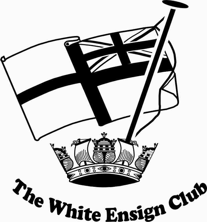The badge of the white ensign club is a naval crown with a flagpole flying the Royal Nave White Ensign.