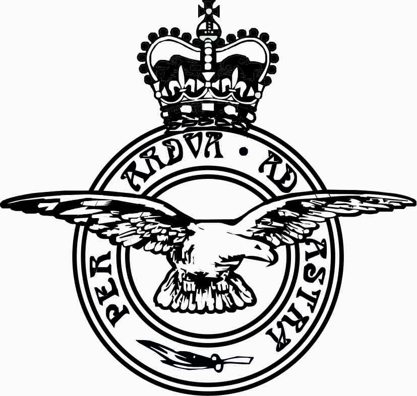 This is an artist's impression of the R.A.F. badge or crest . It has two circles, one smaller than the other and inside. Between these circles is the words Per Ardva Ad Astra. On top of this with wings extended across both sides of the circles is a bird of pray. anove the circles is a royal crown.